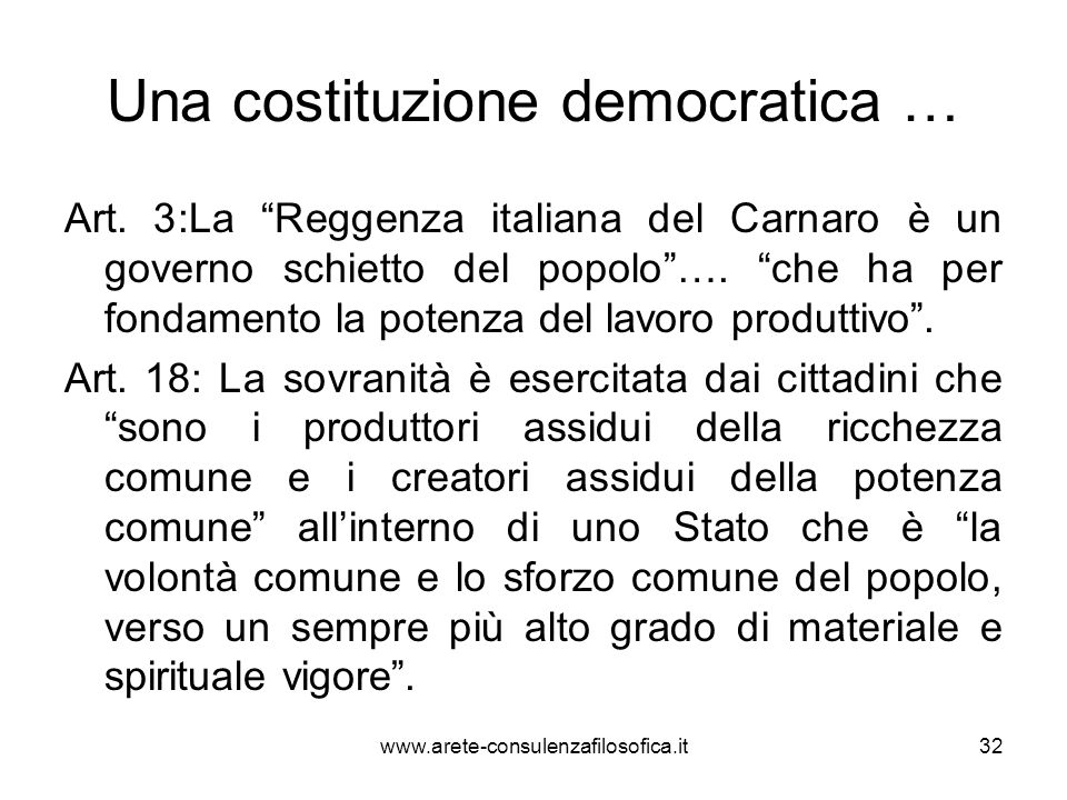 Una costituzione democratica …