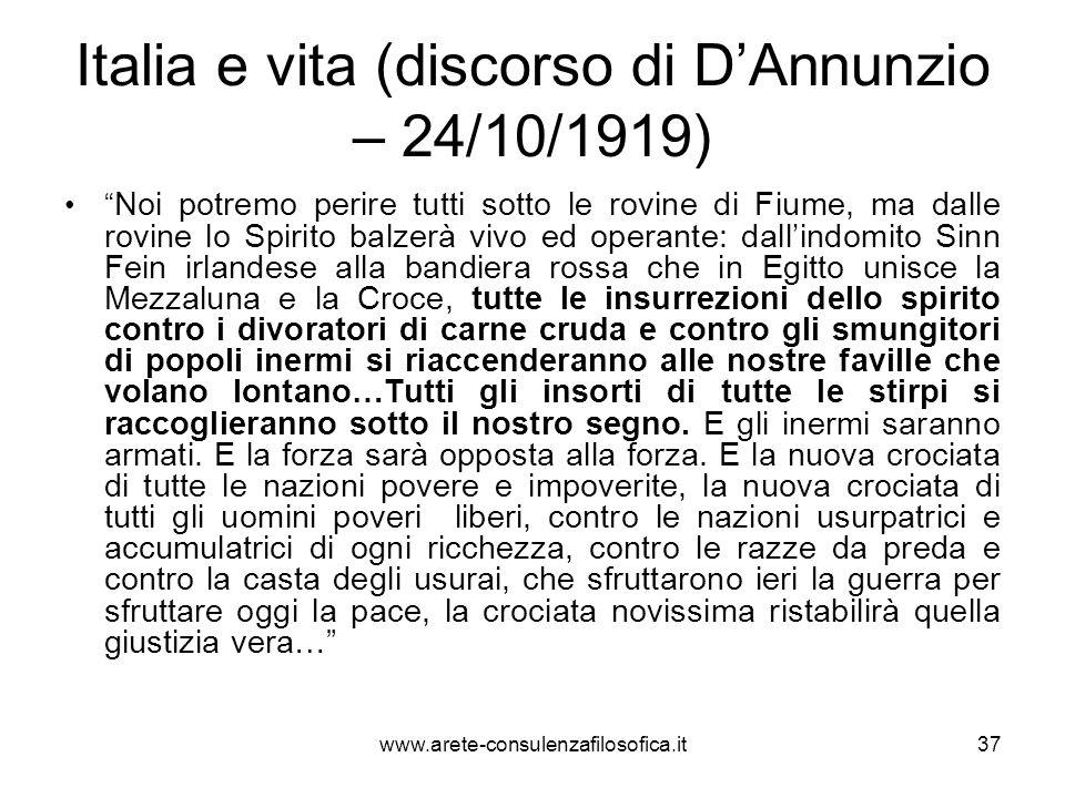 Italia e vita (discorso di D'Annunzio – 24/10/1919)