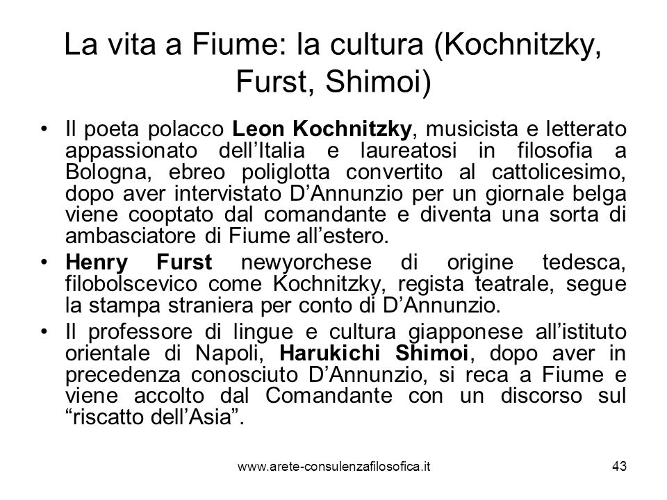La vita a Fiume: la cultura (Kochnitzky, Furst, Shimoi)