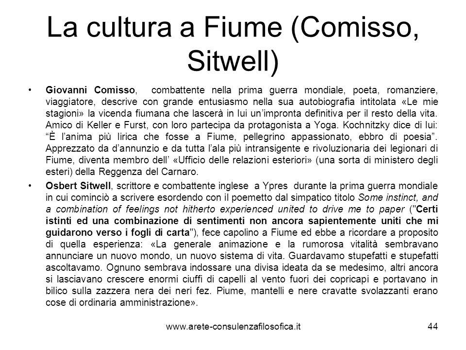 La cultura a Fiume (Comisso, Sitwell)
