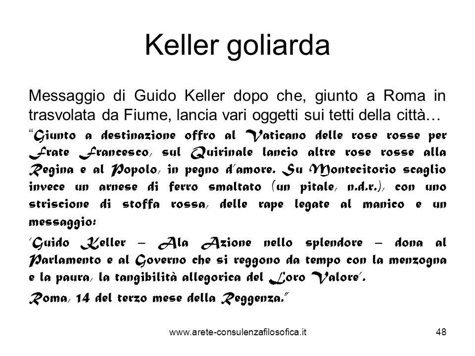 Keller goliarda Messaggio di Guido Keller dopo che, giunto a Roma in trasvolata da Fiume, lancia vari oggetti sui tetti della città…