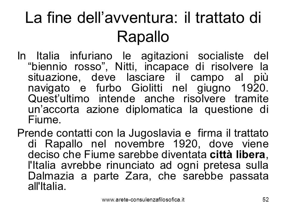 La fine dell'avventura: il trattato di Rapallo