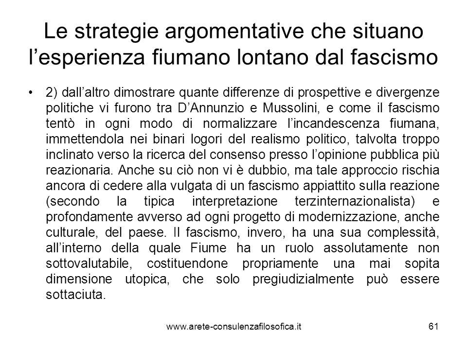 Le strategie argomentative che situano l'esperienza fiumano lontano dal fascismo