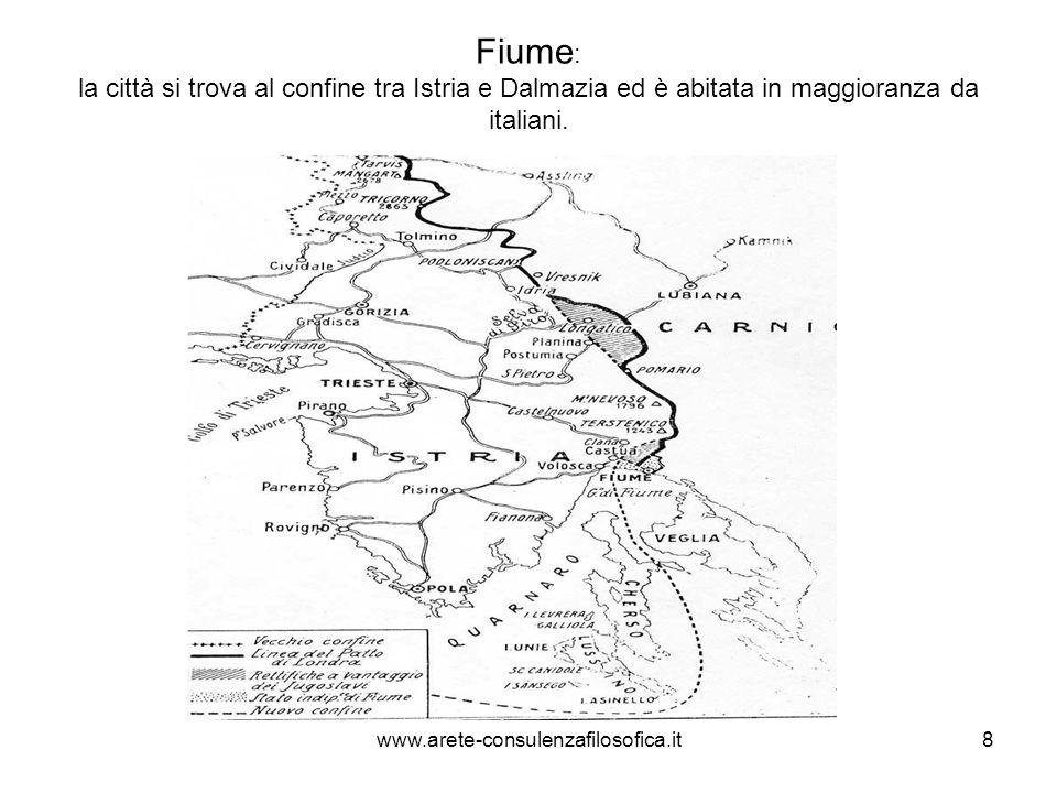 Fiume: la città si trova al confine tra Istria e Dalmazia ed è abitata in maggioranza da italiani.