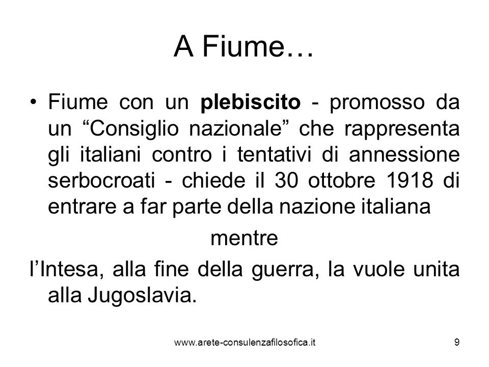 A Fiume…