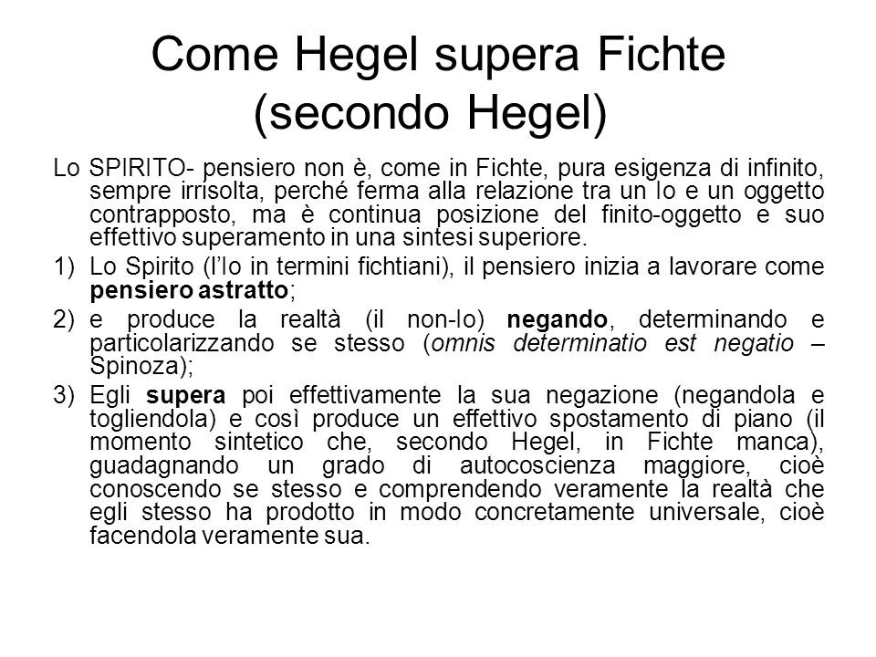 Come Hegel supera Fichte (secondo Hegel))