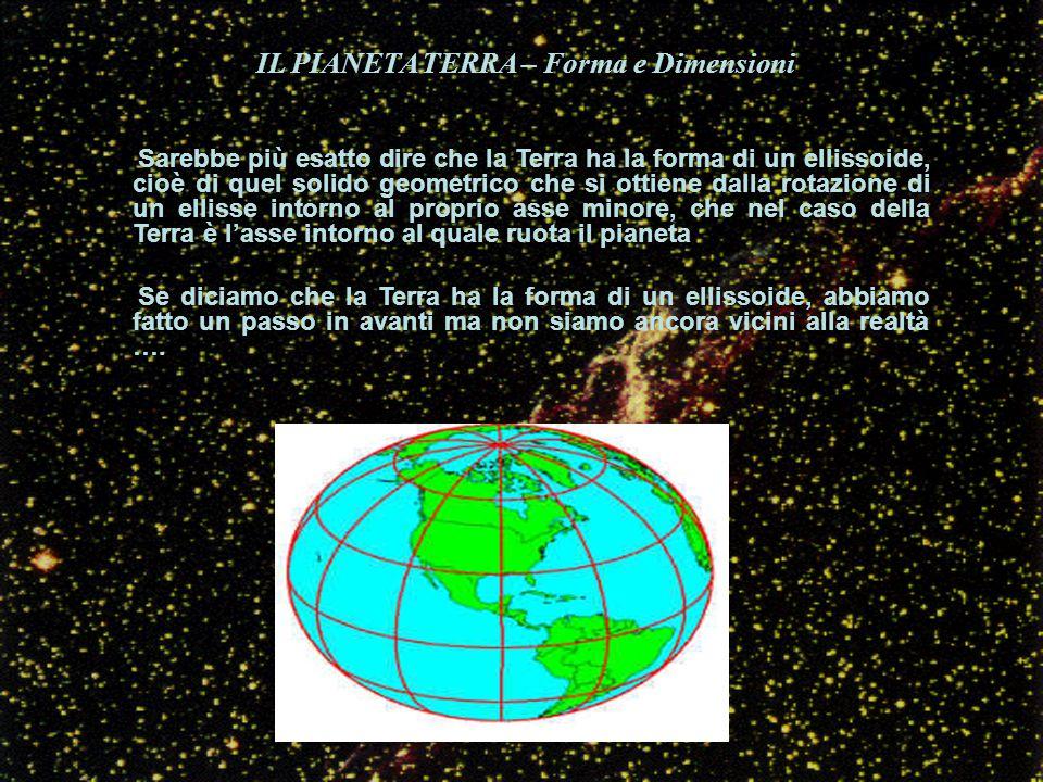 IL PIANETA TERRA – Forma e Dimensioni