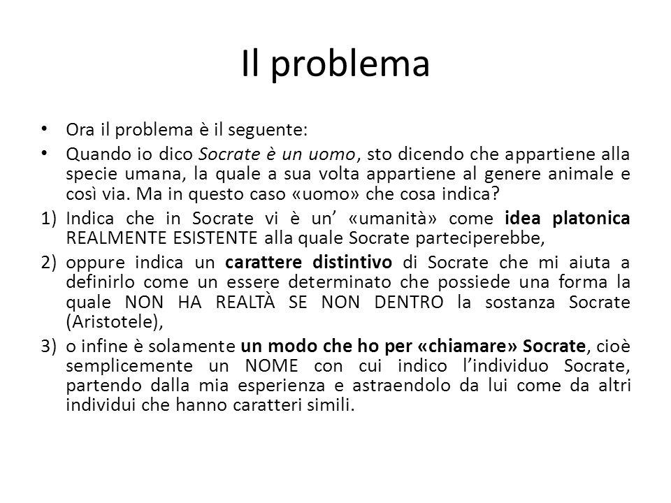 Il problema Ora il problema è il seguente: