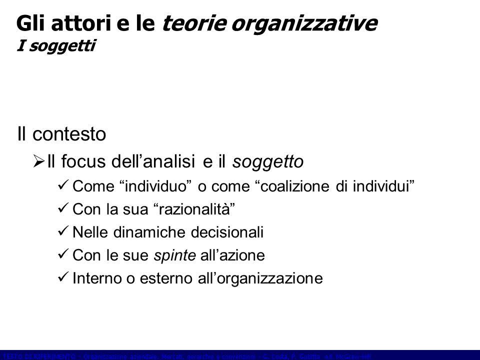 Gli attori e le teorie organizzative I soggetti