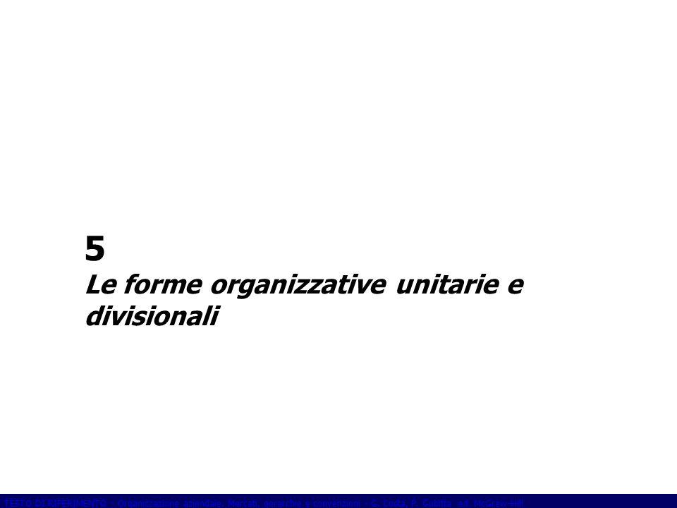 5 Le forme organizzative unitarie e divisionali