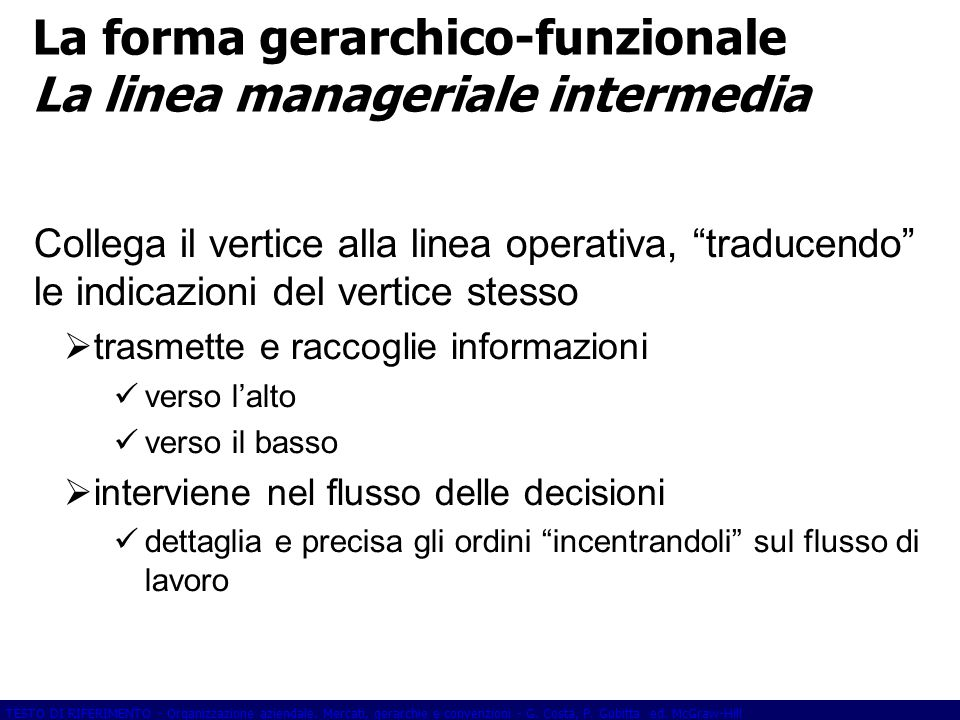 La forma gerarchico-funzionale La linea manageriale intermedia