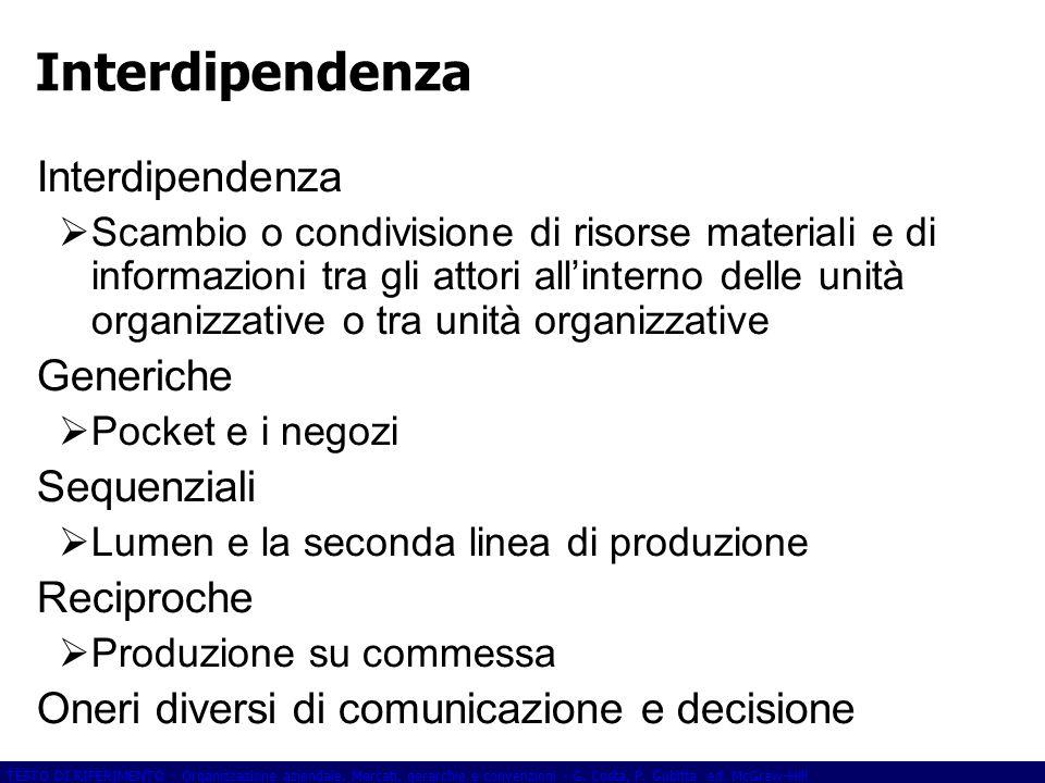 Interdipendenza Interdipendenza Generiche Sequenziali Reciproche