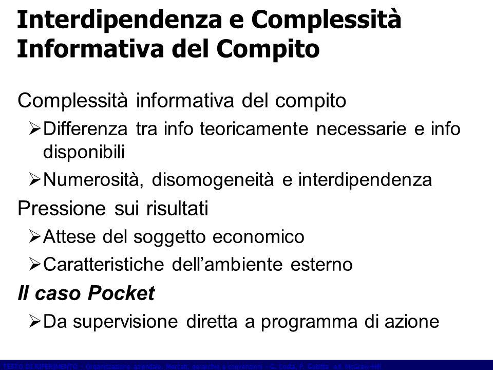 Interdipendenza e Complessità Informativa del Compito