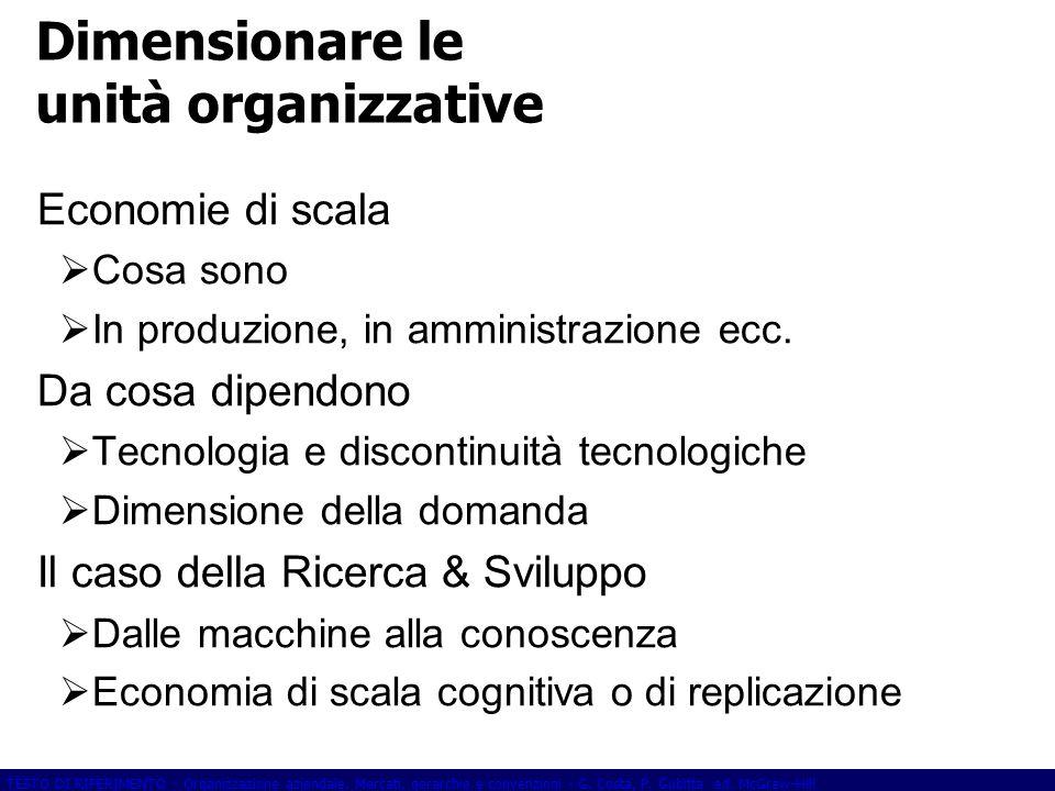 Dimensionare le unità organizzative