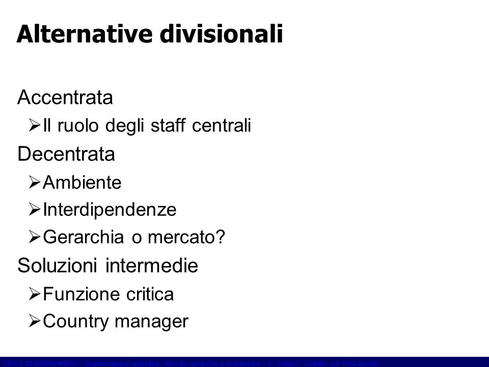 Alternative divisionali