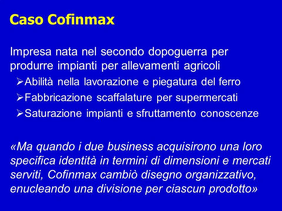 Caso Cofinmax Impresa nata nel secondo dopoguerra per produrre impianti per allevamenti agricoli. Abilità nella lavorazione e piegatura del ferro.