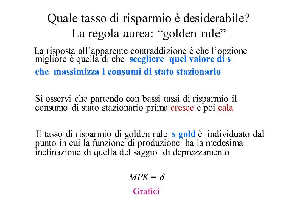 Quale tasso di risparmio è desiderabile La regola aurea: golden rule