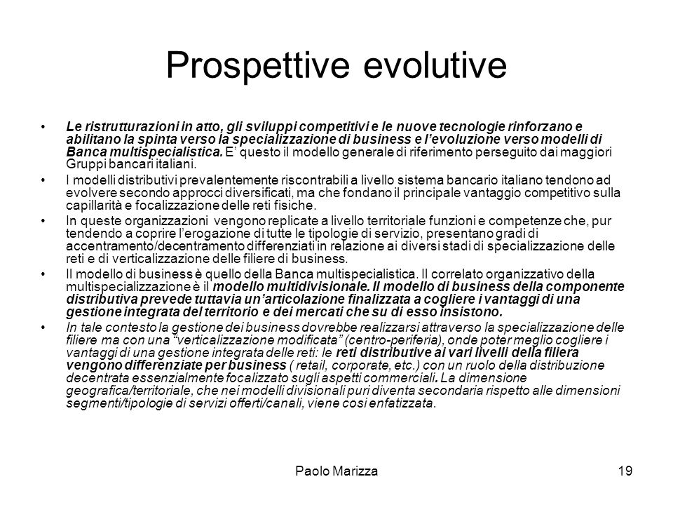 Prospettive evolutive