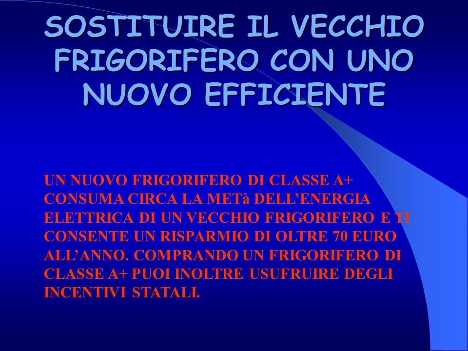 SOSTITUIRE IL VECCHIO FRIGORIFERO CON UNO NUOVO EFFICIENTE
