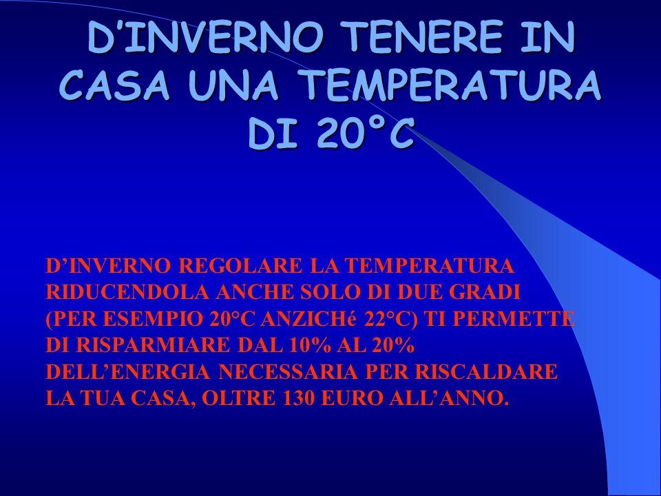 D'INVERNO TENERE IN CASA UNA TEMPERATURA DI 20°C
