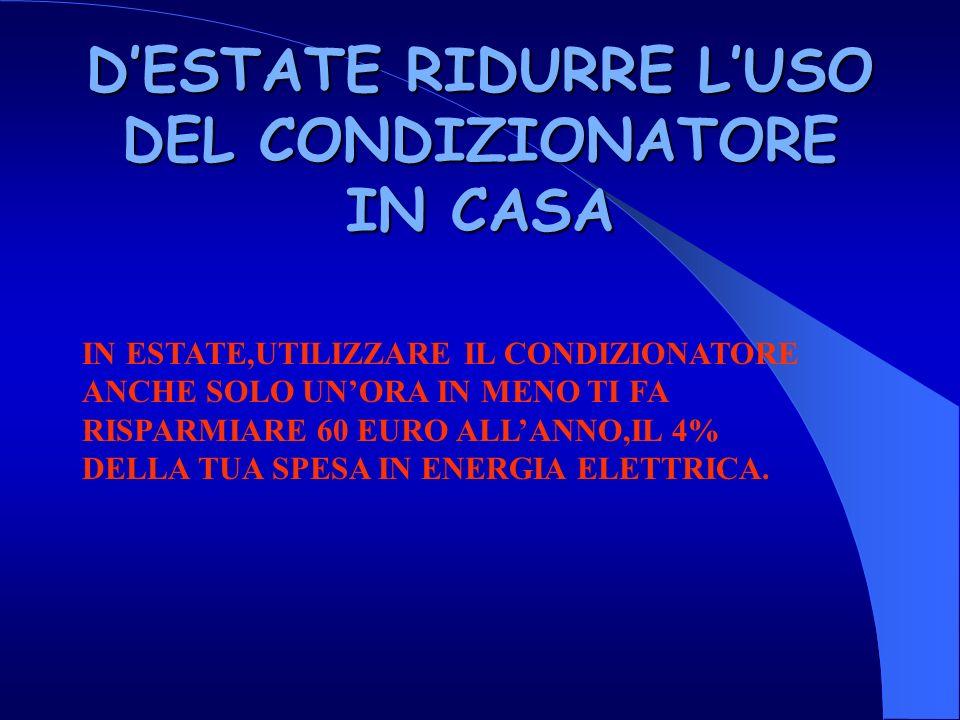 D'ESTATE RIDURRE L'USO DEL CONDIZIONATORE IN CASA