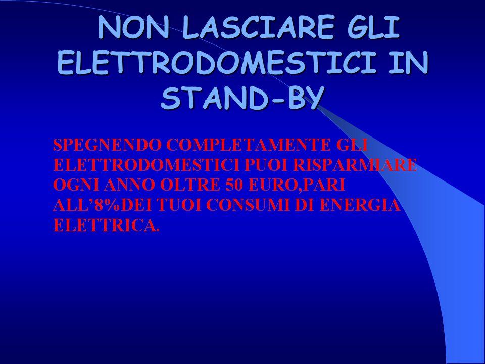 NON LASCIARE GLI ELETTRODOMESTICI IN STAND-BY