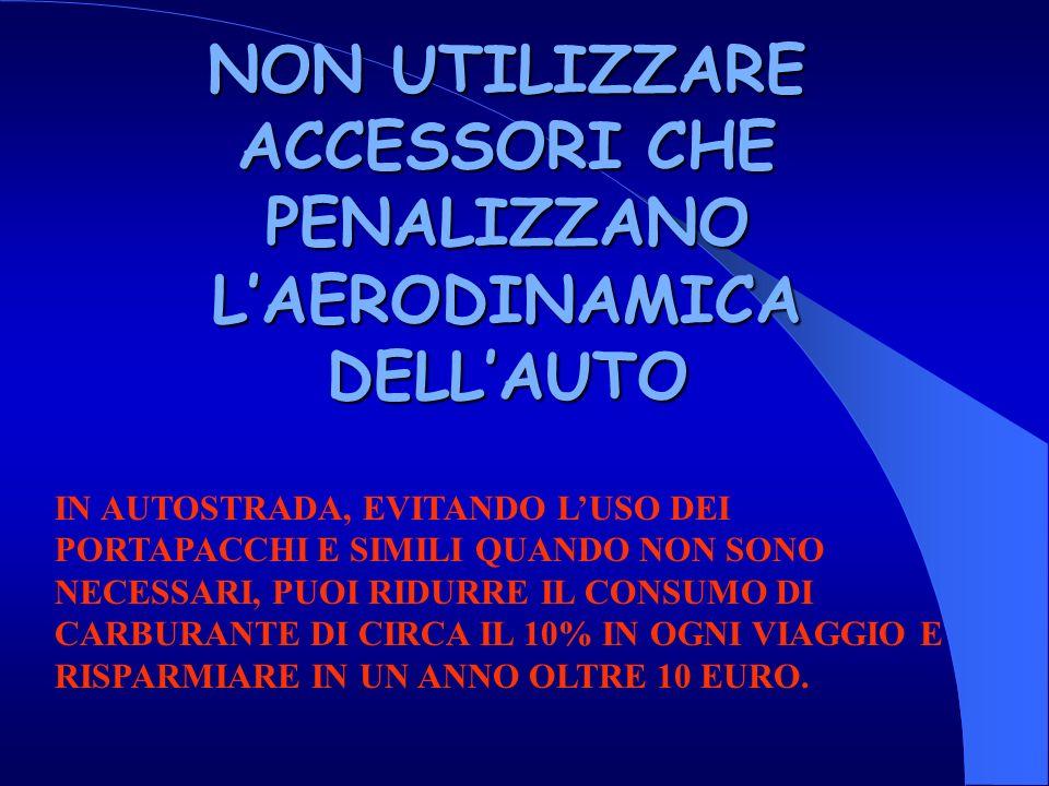 NON UTILIZZARE ACCESSORI CHE PENALIZZANO L'AERODINAMICA DELL'AUTO
