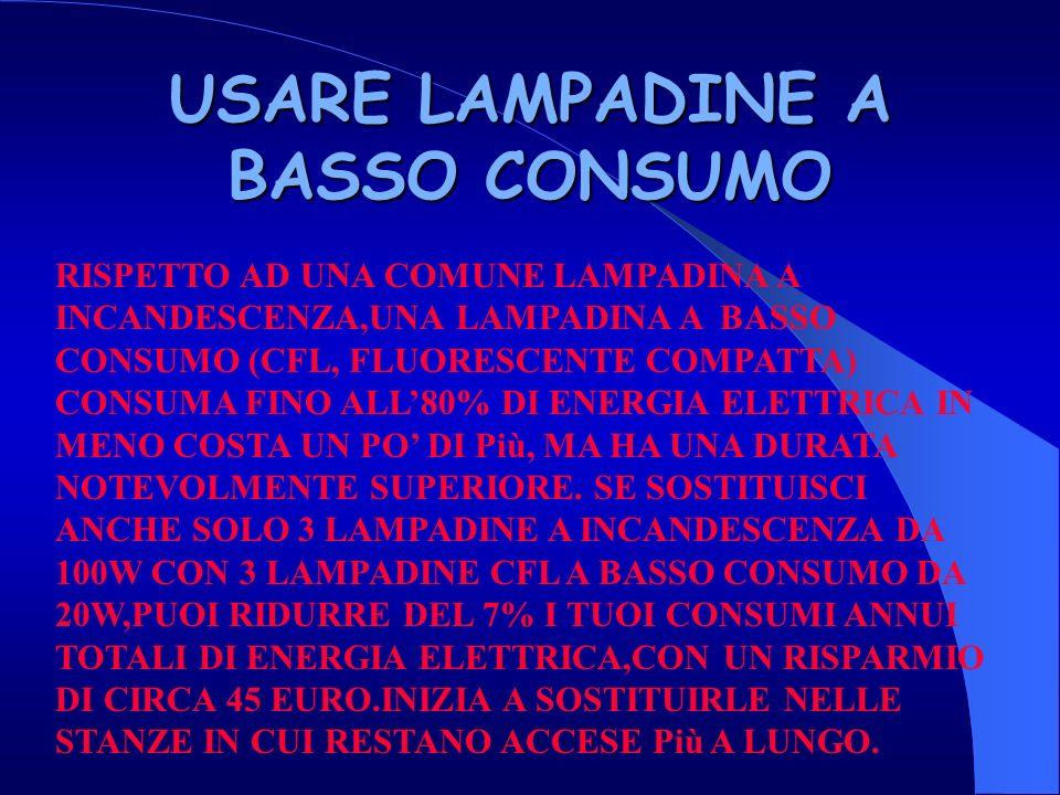USARE LAMPADINE A BASSO CONSUMO