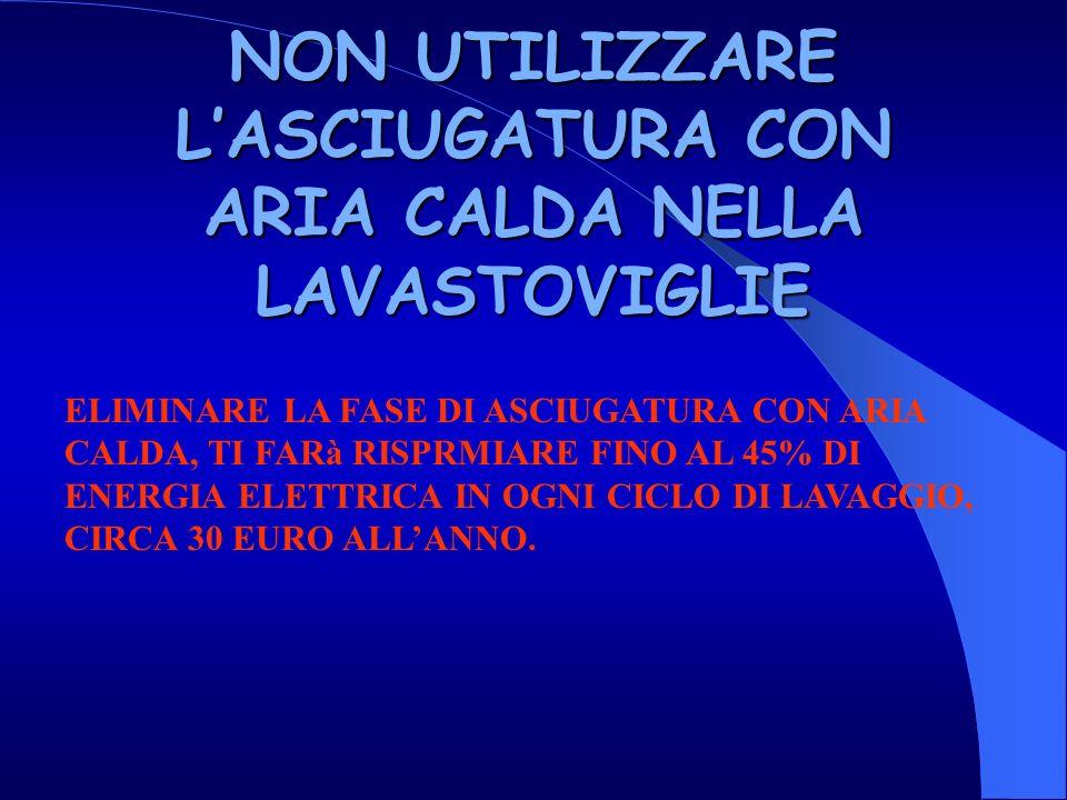 NON UTILIZZARE L'ASCIUGATURA CON ARIA CALDA NELLA LAVASTOVIGLIE