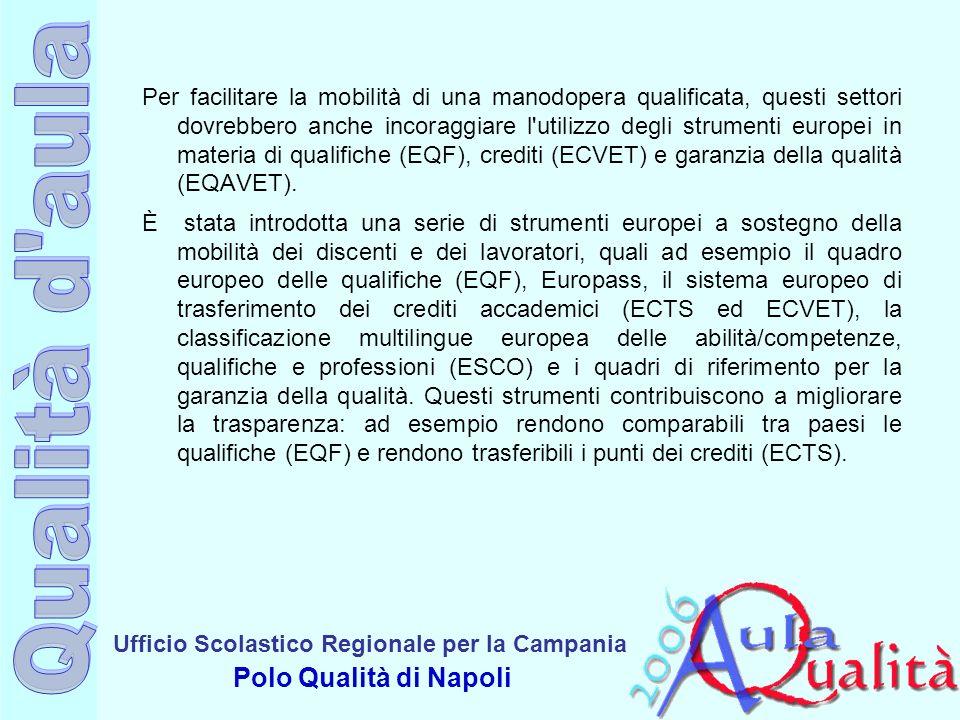 Per facilitare la mobilità di una manodopera qualificata, questi settori dovrebbero anche incoraggiare l utilizzo degli strumenti europei in materia di qualifiche (EQF), crediti (ECVET) e garanzia della qualità (EQAVET).