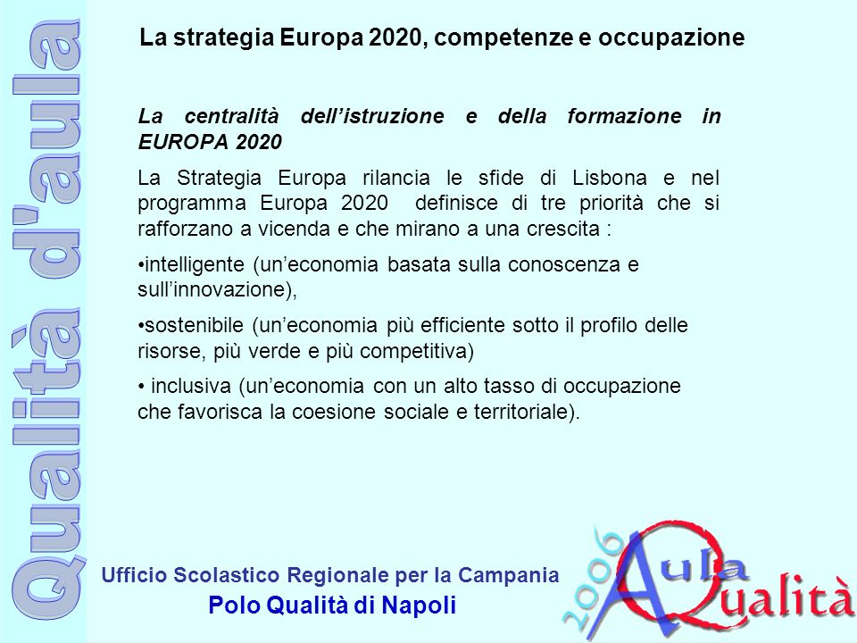La strategia Europa 2020, competenze e occupazione