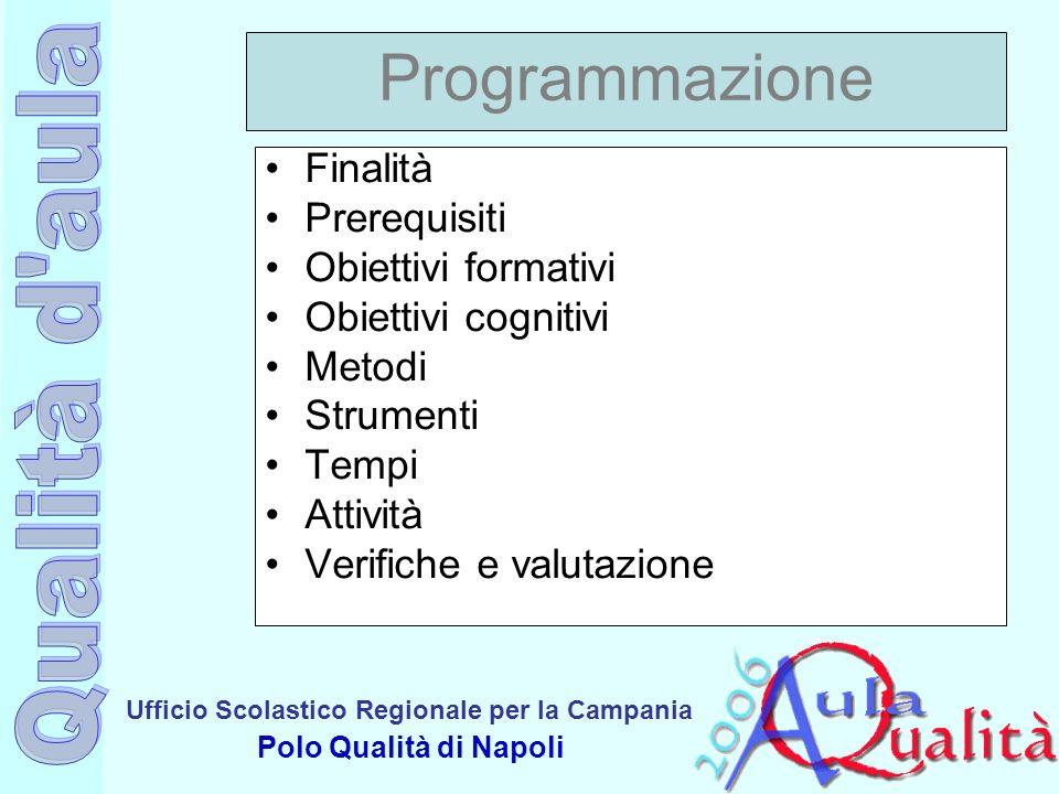 Programmazione Finalità Prerequisiti Obiettivi formativi