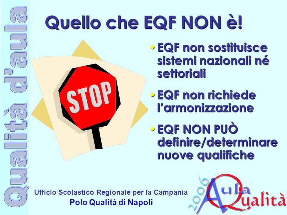 Quello che EQF NON è!EQF non sostituisce sistemi nazionali né settoriali. EQF non richiede l'armonizzazione.