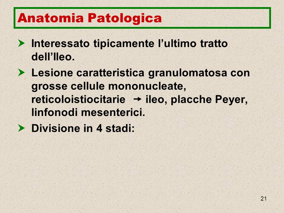 Anatomia Patologica Interessato tipicamente l'ultimo tratto dell'Ileo.