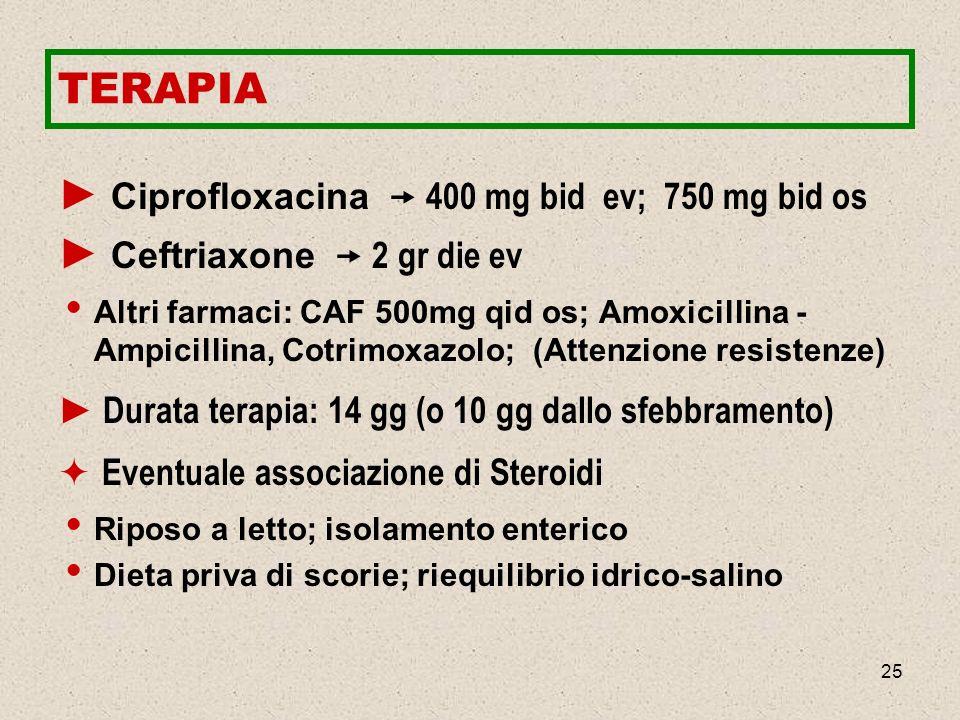 TERAPIA Ciprofloxacina  400 mg bid ev; 750 mg bid os