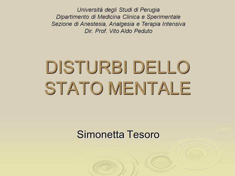DISTURBI DELLO STATO MENTALE