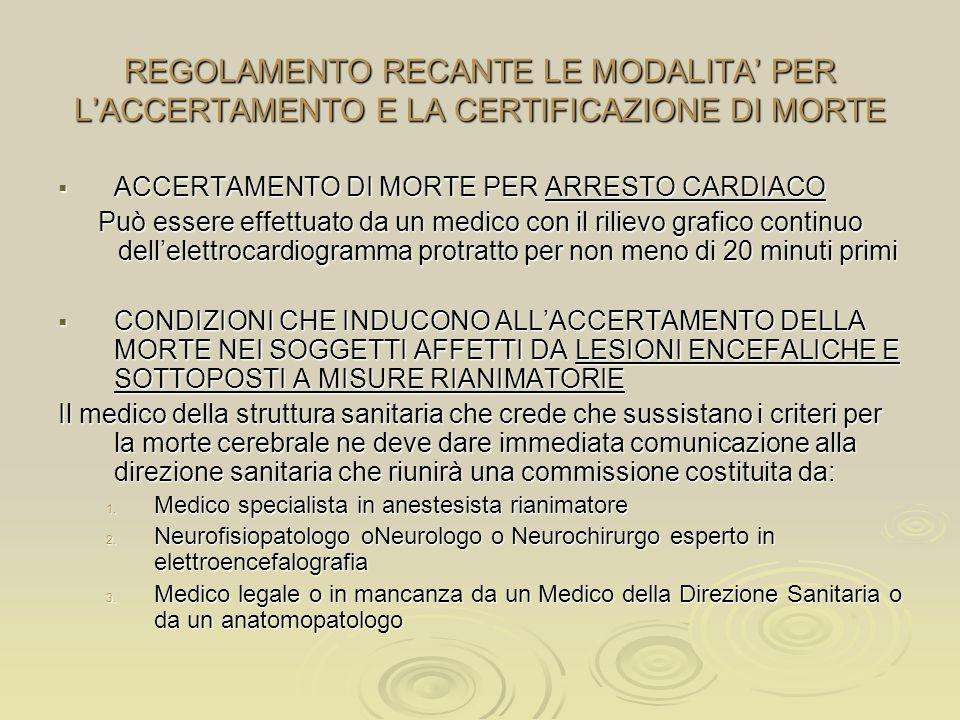 REGOLAMENTO RECANTE LE MODALITA' PER L'ACCERTAMENTO E LA CERTIFICAZIONE DI MORTE