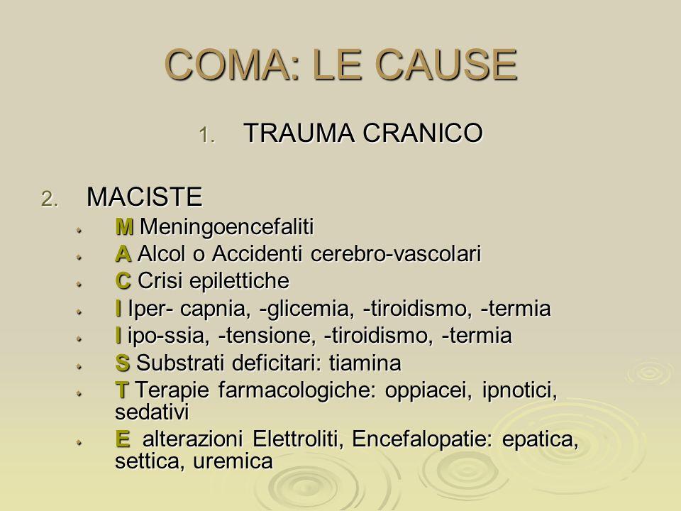 COMA: LE CAUSE TRAUMA CRANICO MACISTE M Meningoencefaliti