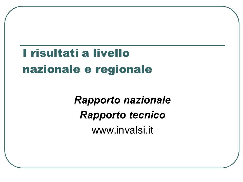 I risultati a livello nazionale e regionale Rapporto nazionale