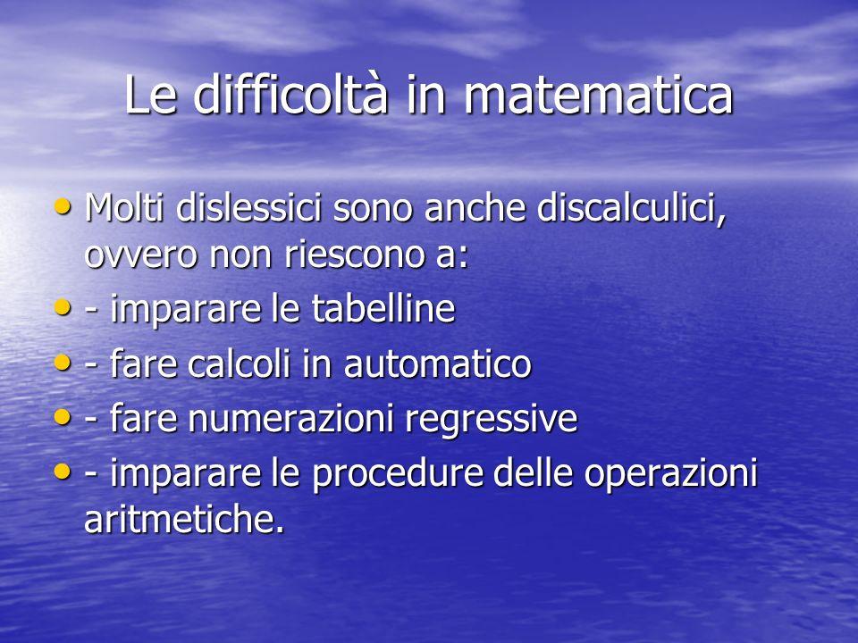 Le difficoltà in matematica