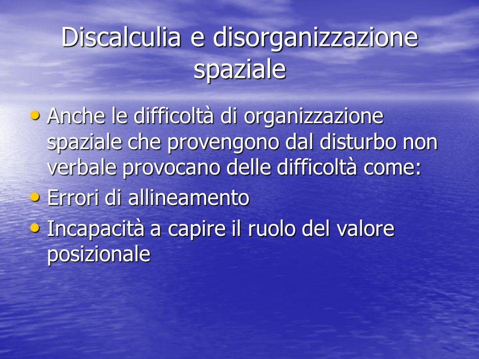 Discalculia e disorganizzazione spaziale