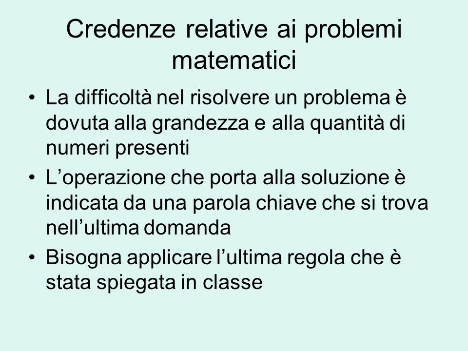 Credenze relative ai problemi matematici