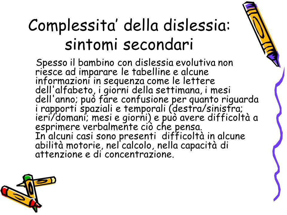 Complessita' della dislessia: sintomi secondari