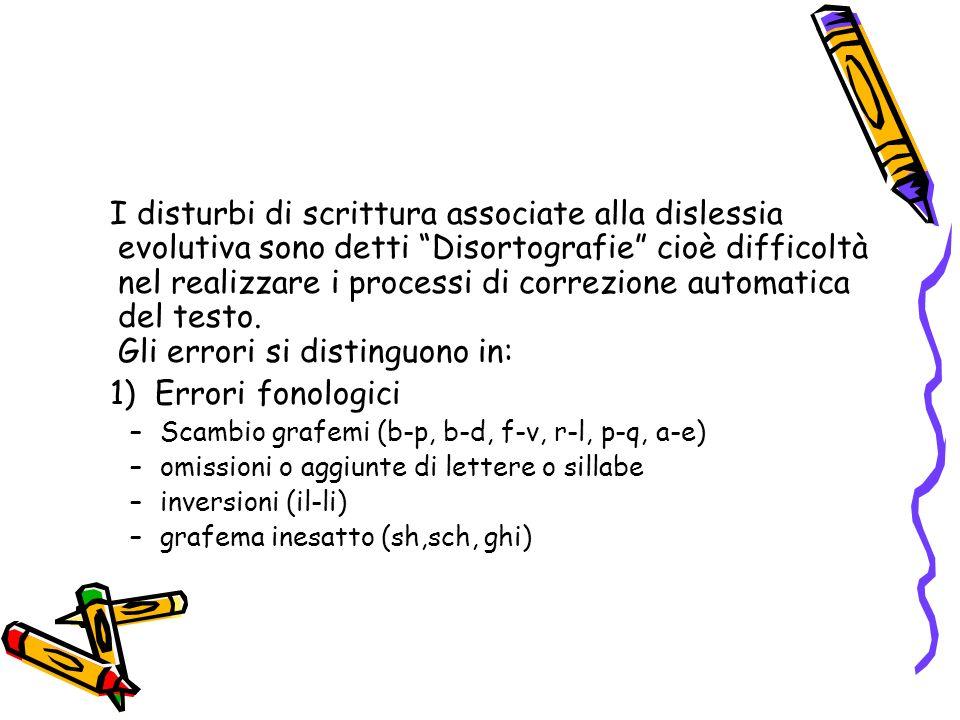 I disturbi di scrittura associate alla dislessia evolutiva sono detti Disortografie cioè difficoltà nel realizzare i processi di correzione automatica del testo. Gli errori si distinguono in: