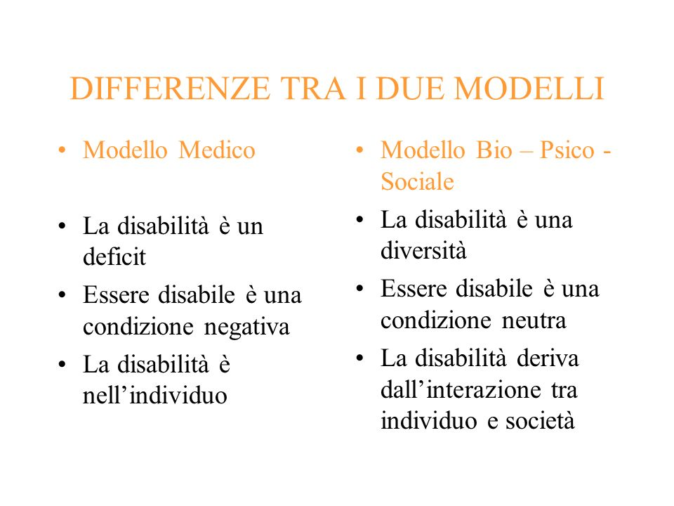 DIFFERENZE TRA I DUE MODELLI
