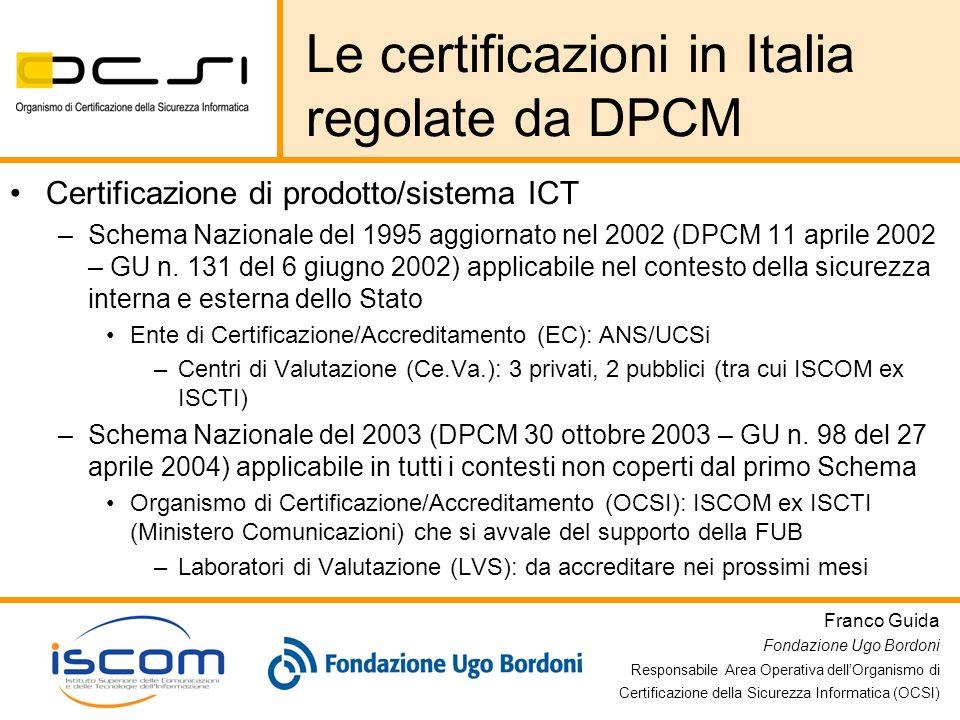 Le certificazioni in Italia regolate da DPCM
