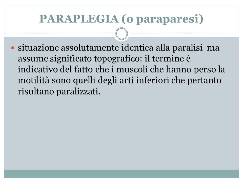 PARAPLEGIA (o paraparesi)