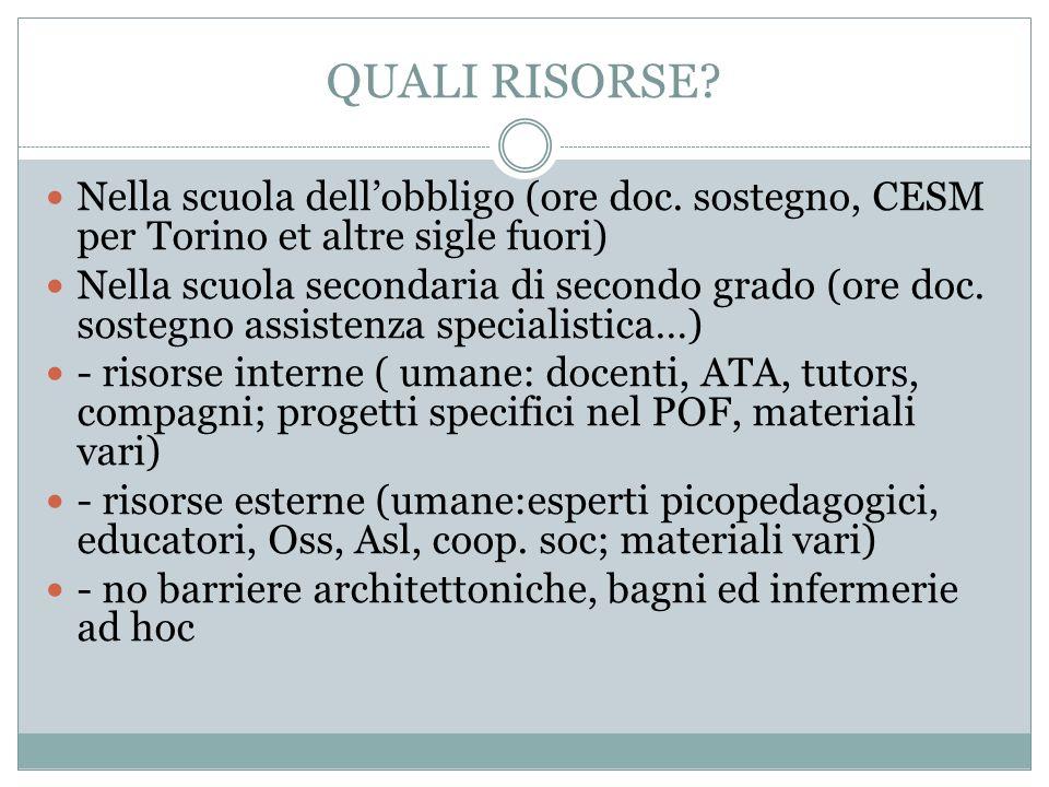 QUALI RISORSE Nella scuola dell'obbligo (ore doc. sostegno, CESM per Torino et altre sigle fuori)