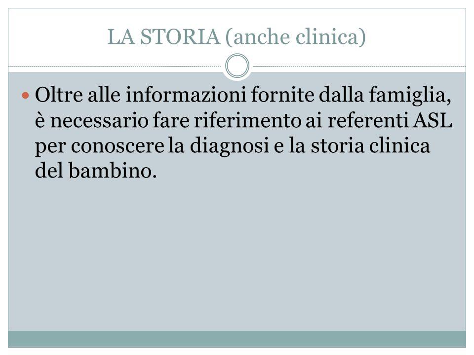LA STORIA (anche clinica)