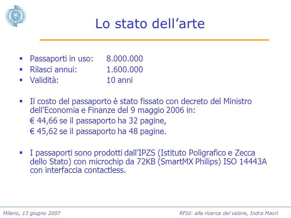 Lo stato dell'arte Passaporti in uso: 8.000.000